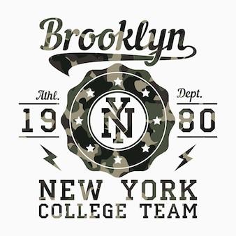 Tipografia de camuflagem de nova york brooklyn para design de roupas e camisetas atléticas gráficos para impressão