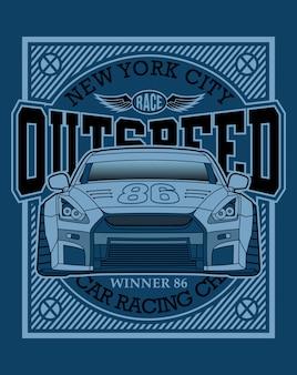 Tipografia de carros de corrida, ilustração gráfica