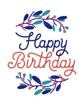Tipografia de cartão de feliz aniversário com coroa de flores