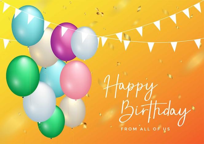 Tipografia de comemoração de feliz aniversário para cartão