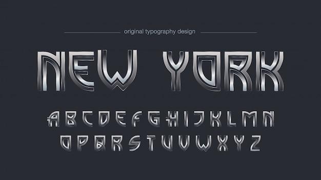 Tipografia de cromo art deco abstrata
