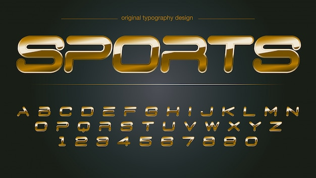 Tipografia de cromo de esportes dourado brilhante