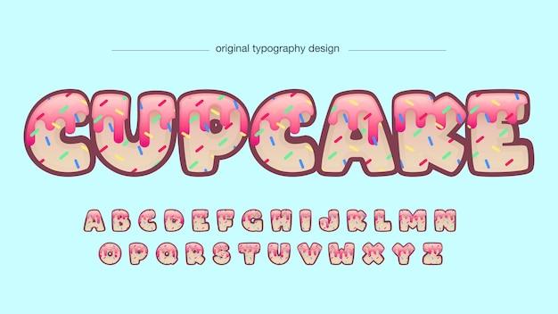 Tipografia de desenhos animados decorativos de cupcake Vetor Premium