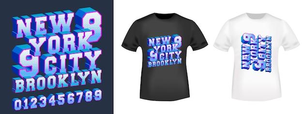 Tipografia de design 3d new york brooklyn com números para impressão de camisetas