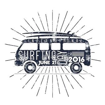 Tipografia de dia de surf com rajadas de estrelas.