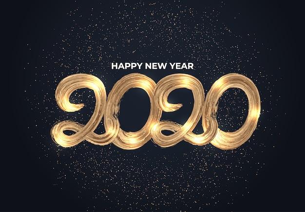 Tipografia de efeito de escova de ouro 2020