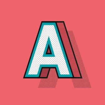 Tipografia de efeito de meio-tom 3d da letra a
