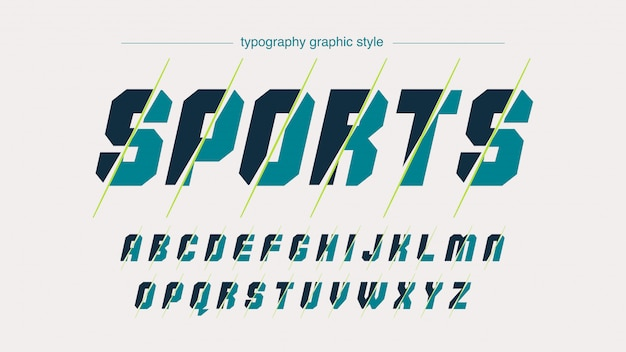 Tipografia de esportes verde abstrato fatiado
