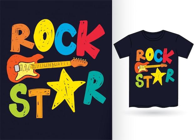 Tipografia de estrela de rock mão desenhada para tshirt