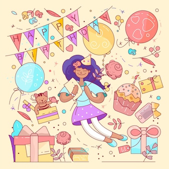 Tipografia de feliz aniversário para cartões e cartaz com balão, cupcakes e caixa de presente, modelo de design para festa de aniversário.