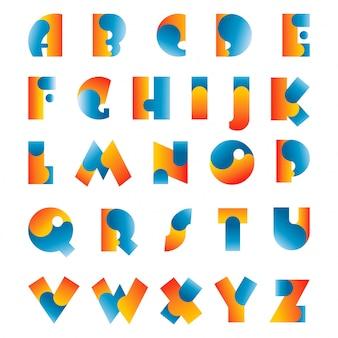 Tipografia de fonte abstrata alfabeto colorido