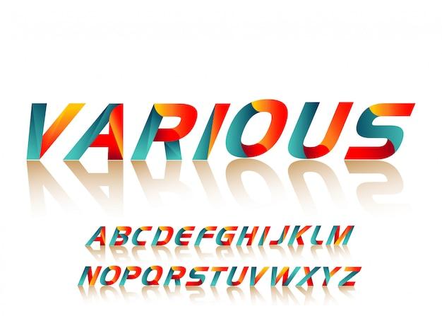 Tipografia de fonte alfabeto colorido