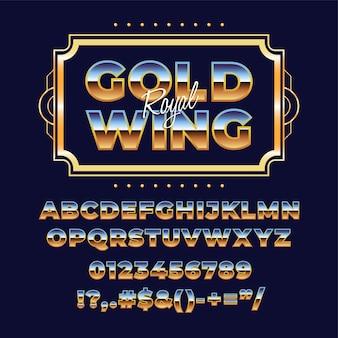Tipografia de fonte do alfabeto metálico retrô dos anos 80