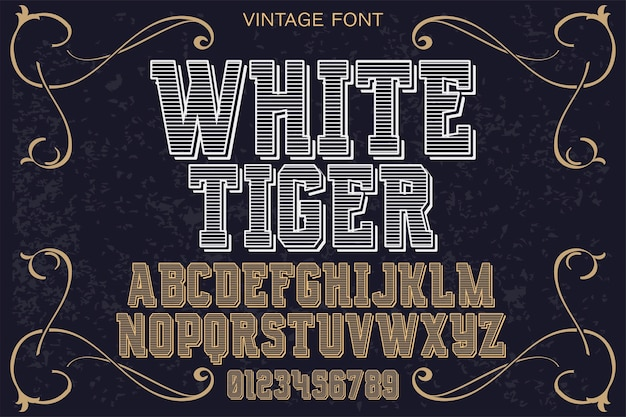 Tipografia de fonte projeto tigre branco
