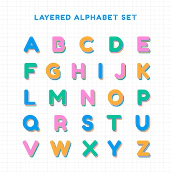 Tipografia de fontes de conjunto de alfabeto em camadas