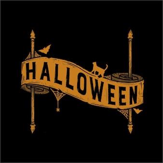 Tipografia de halloween com fita