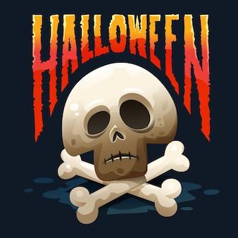 Tipografia de halloween com gradações de fogo e imagens fofas do crânio