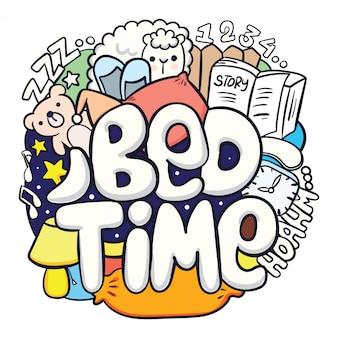 Tipografia de hora de dormir com doodle bonito