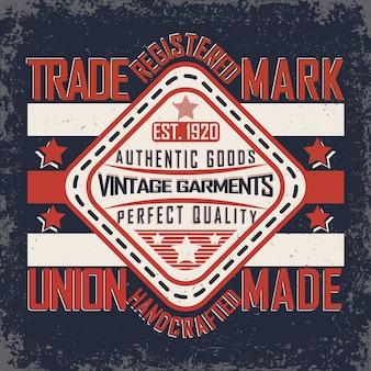 Tipografia de jeans vintage, gráficos de camiseta grunge, selo de roupas de arte vintage grunge, design de impressão de camiseta de jeans vintage, emblema de produtos de jeans