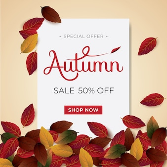Tipografia de layout autumnsale decorar com folhas