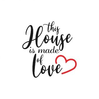 Tipografia de letras de citação de casa