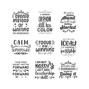 Tipografia de letras de citações motivacionais