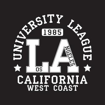 Tipografia de los angeles la califórnia para camiseta estampa original de roupa esportiva roupa esportiva