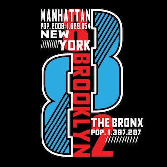 Tipografia de manhattan camiseta mock up
