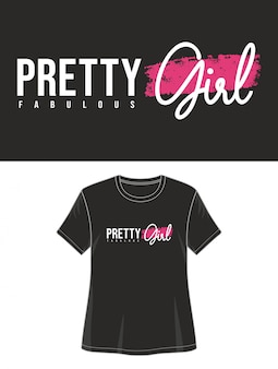 Tipografia de menina bonita para impressão camiseta menina