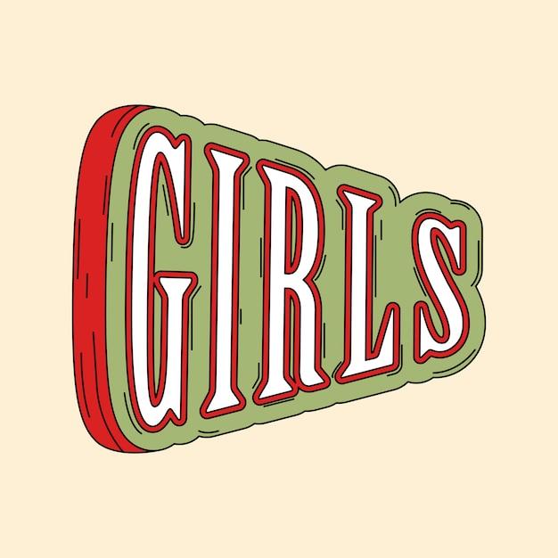 Tipografia de meninas em verde