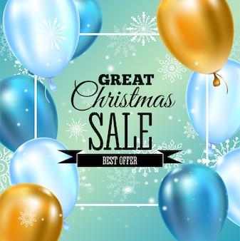 Tipografia de modelo de banner de venda de natal, balões dourados e azuis, decoração de flocos de neve para panfletos, cartaz, web, banner e cartão