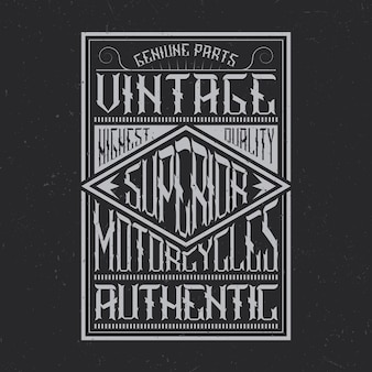Tipografia de motocicletas vintage, gráficos de camisetas, emblema e design de etiqueta