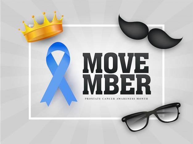 Tipografia de movember com fita da aids, bigode, óculos e coroa de ouro