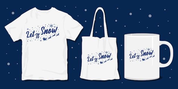 Tipografia de natal com citações de letras e design de mercadoria