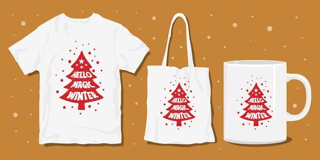 Tipografia de natal com letras camisetas e design de mercadoria