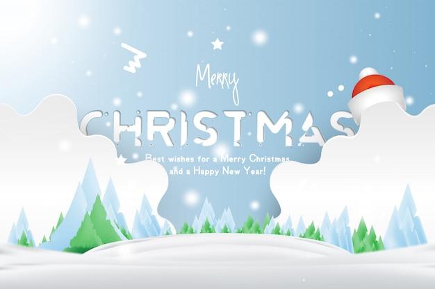 Tipografia de natal e ano novo com chapéu vermelho sobre fundo com paisagem de inverno com luz brilhante de natal e estrelas.