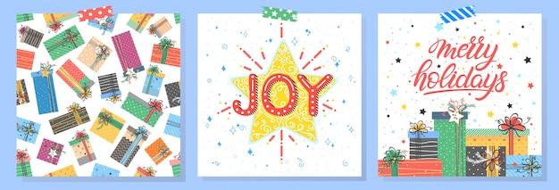 Tipografia de natal e ano novo. conjunto de cartões de férias com saudações, caixas de presente, padrão sem emenda, flocos de neve, estrelas.