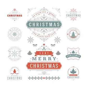 Tipografia de natal ornamentado etiquetas e emblemas