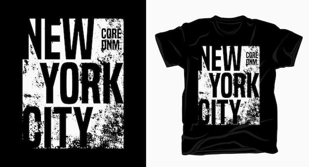 Tipografia de nova york com camiseta de textura