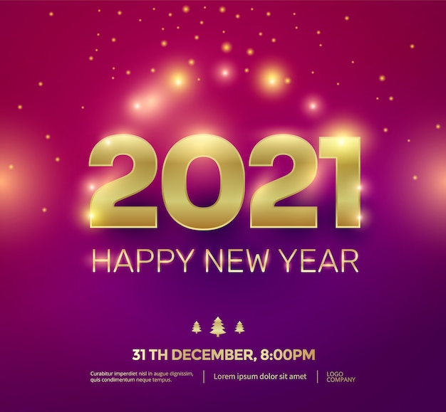 Tipografia de números ouro feliz ano novo 2021 com efeito de brilho.
