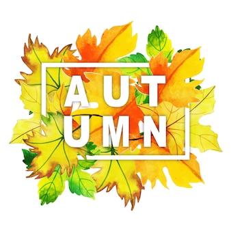 Tipografia de outono em aquarela com moldura de folhas