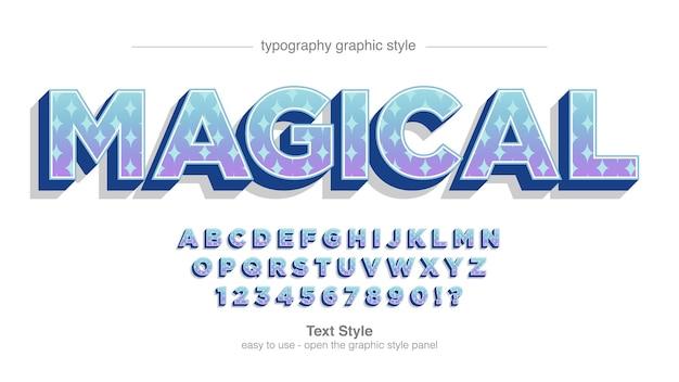 Tipografia de padrão de estrelas de desenho animado em 3d roxo azul