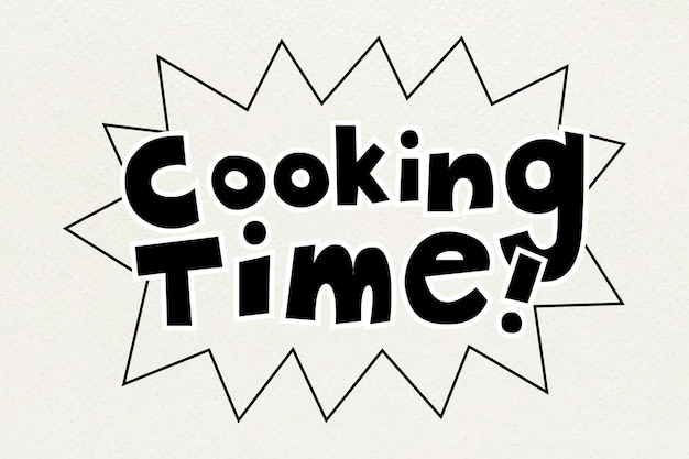 Tipografia de palavras text cooking time