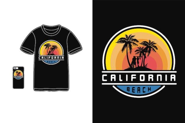 Tipografia de praia da califórnia em produtos para camisetas e dispositivos móveis