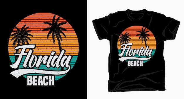 Tipografia de praia da flórida para design de camisetas