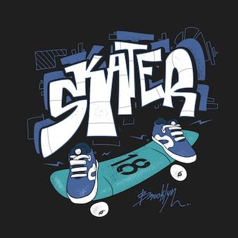 Tipografia de prancha de skate, gráficos de camisetas urbanas, s.
