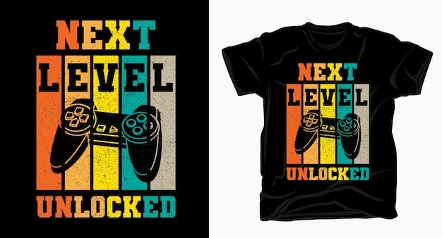 Tipografia de próximo nível desbloqueada com camiseta vintage com controle de jogo