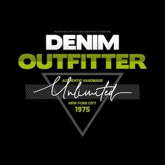 Tipografia de rotulação denim outfitter boa para t shirt emblemprint e vetor premium etc.