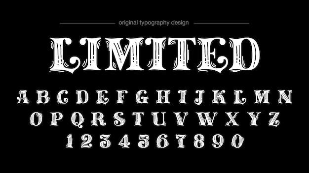 Tipografia de sans serif da velha escola feita sob encomenda