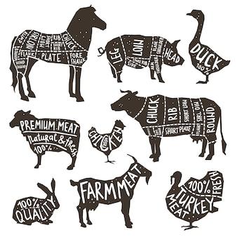 Tipografia de silhueta de animais de fazenda
